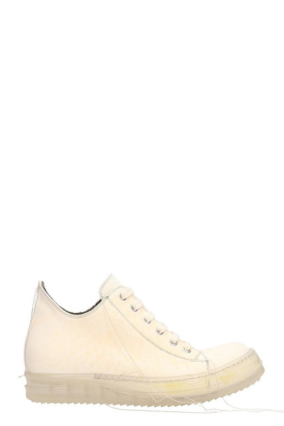 Rick Owens Babel No Cap Low Milk And Cream Calf Leather Sneakers