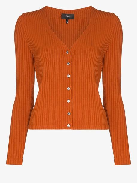 3x1 V-neck ribbed cardigan in orange