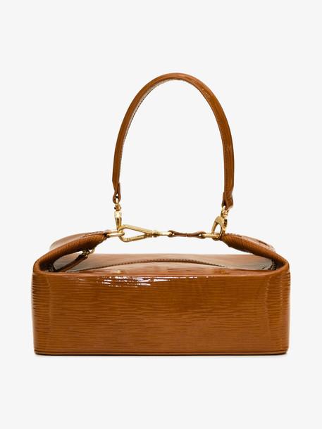 Rejina Pyo brown Olivia patent leather box bag