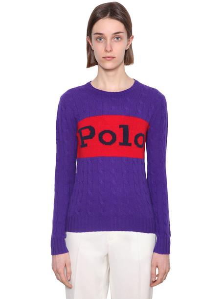 POLO RALPH LAUREN Merino Wool & Cashmere Sweater in purple