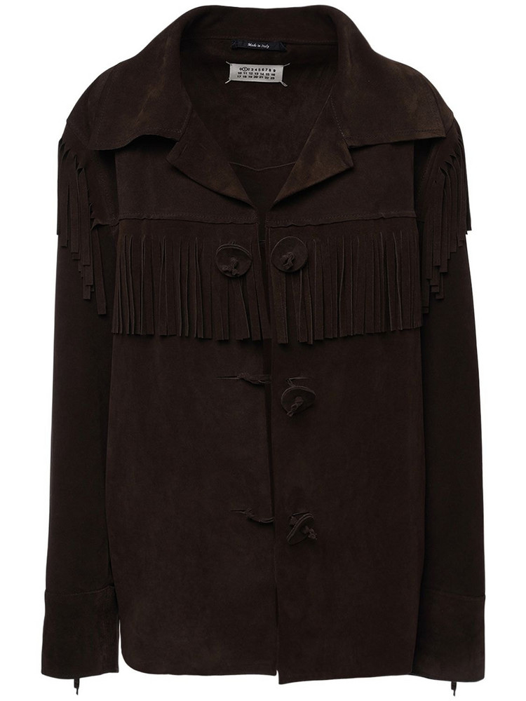 MAISON MARGIELA Suede Jacket W/ Fringes in brown