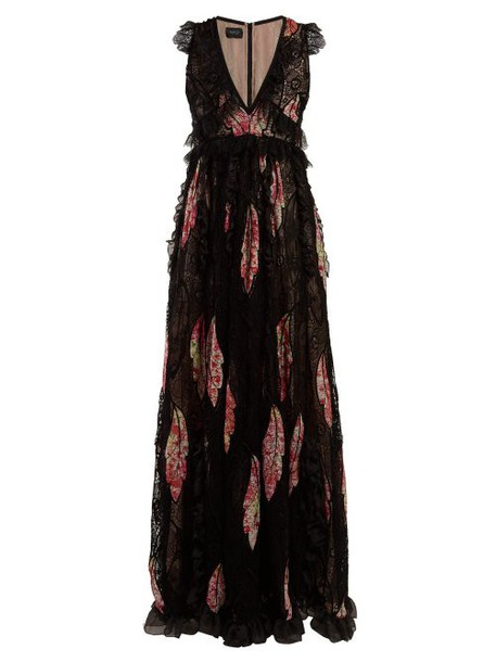 Giambattista Valli - Floral Print Crepe De Chine And Guipure Lace Gown - Womens - Black Multi