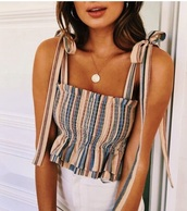 shirt,summer,summer outfits,spring,light,stripes,tank top,summer beauty,strapless,vsco cam,cute,cute top,party,pastel,colorful,pretty,bows