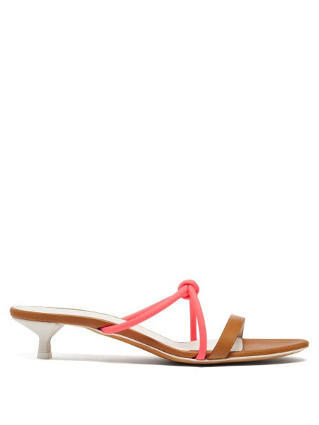 Gray Matters - Neon Strap Leather Sandals - Womens - Tan Multi