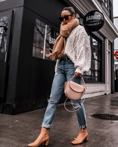 jeans,high waisted jeans,ripped jeans,cropped jeans,sock boots,pink bag,oversized sweater,white sweater,cable knit,belt,scarf,sunglasses