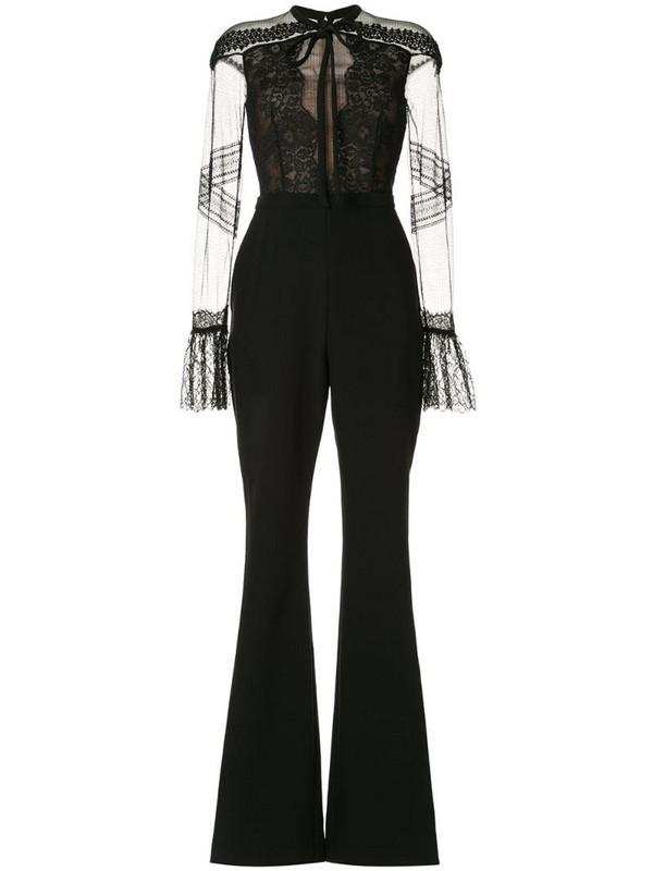 Ingie Paris lace-detail flared jumpsuit in black