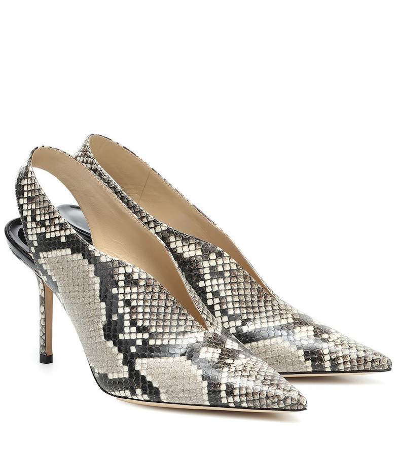 Jimmy Choo Saise 85 snake-effect leather slingback pumps in beige