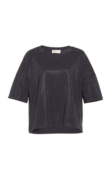 Alexandre Vauthier Embellished Cotton-Blend T-Shirt in navy