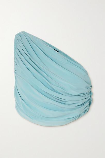NORMA KAMALI - Diana One-shoulder Draped Bikini Top - Blue