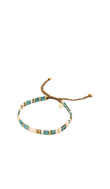 TAI Jewelry Handmade Beaded Bracelet with Gold Accents in Blue