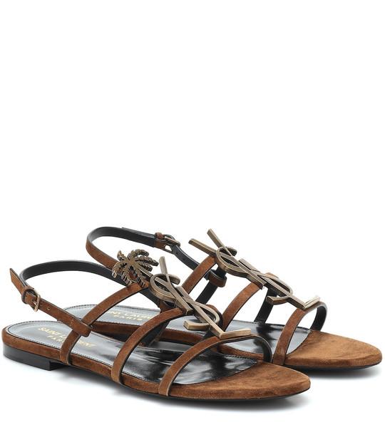 Saint Laurent Cassandra 05 suede sandals in brown