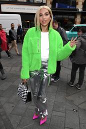 pants,green,green jacket,fur jacket,silver,silver pants,dua lipa