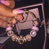 jewels,charm bracelet,pandora,rose gold