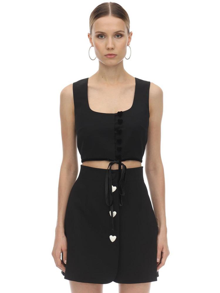 GEORGE KEBURIA Heart Buttoned Crepe Crop Top W/ Velvet in black