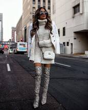 shoes,over the knee boots,snake skin,heel boots,gucci bag,white bag,white sweater,turtleneck sweater,white blazer,turtleneck dress