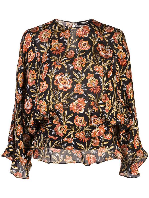 Derek Lam ruffle hem floral print blouse in black