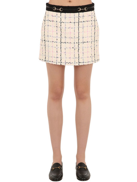 GUCCI Cotton Blend Tweed Mini Skirt in blue / ivory / pink