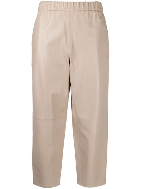 Dusan high-waisted cropped leather trousers in neutrals
