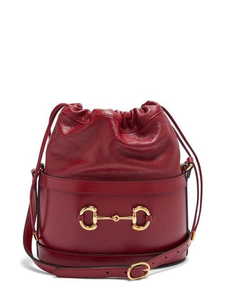 Gucci - 1955 Horsebit Grained-leather Bucket Bag - Womens - Red