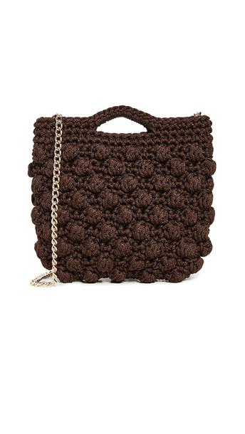 Caterina Bertini Crochet Crossbody Bag in brown
