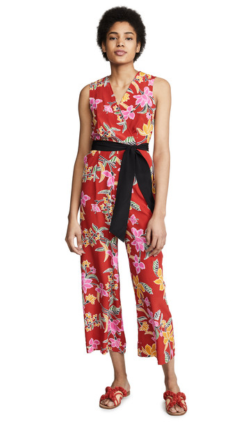 Diane von Furstenberg Crossover Jumpsuit in red