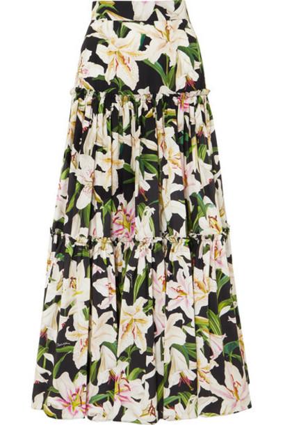 Dolce & Gabbana - Tiered Floral-print Cotton-poplin Maxi Skirt - Black