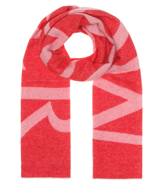 Moncler Logo wool-blend scarf in red