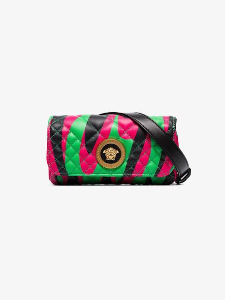 Versace green, black and pink Medusa logo quilted leather belt bag