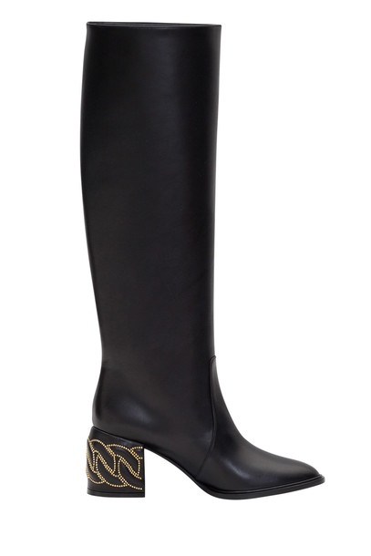 Casadei Tubular Boots With Chain Detail in nero