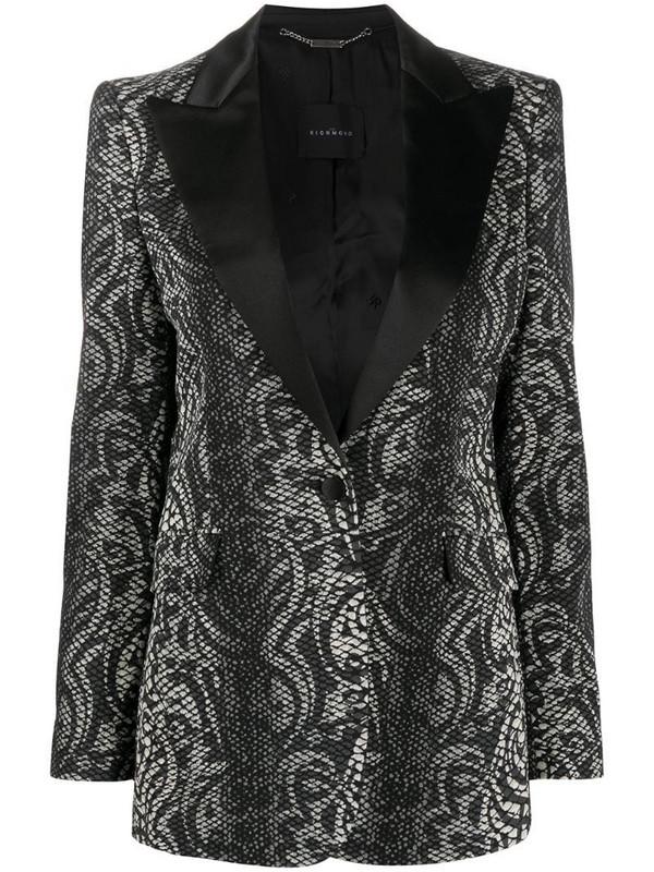 John Richmond snakeskin print tuxedo blazer in black