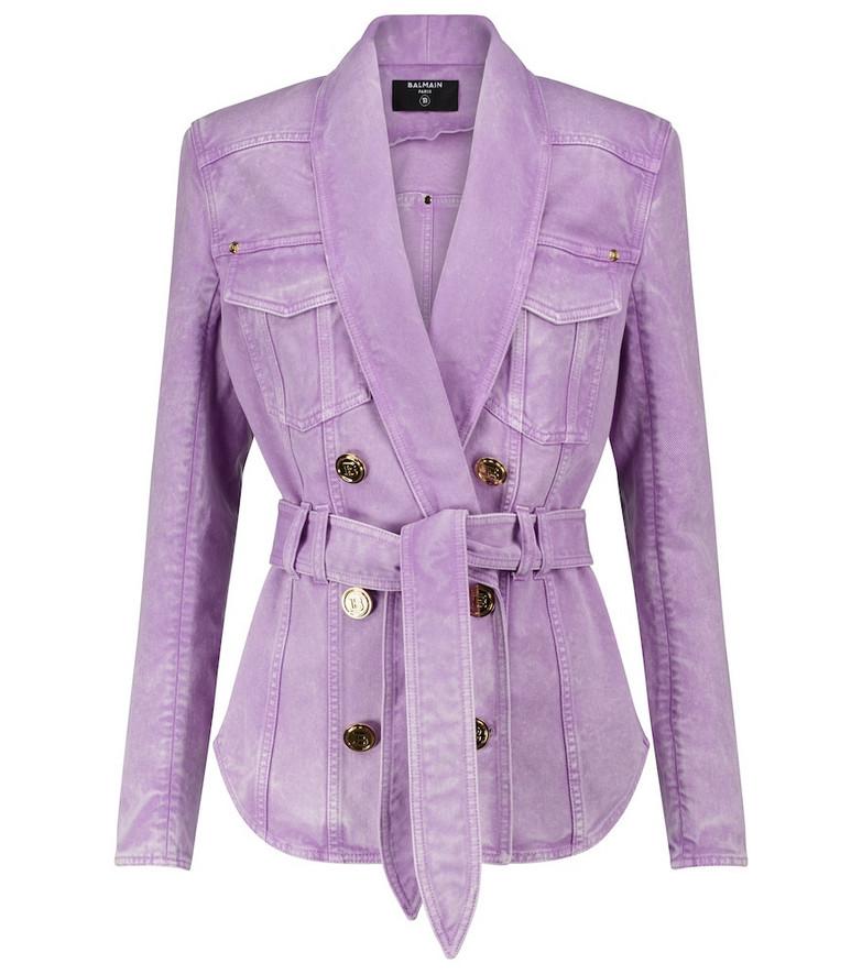 Balmain Denim jacket in purple