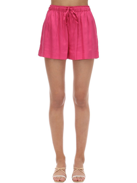 UNDERPROTECTION Saga Satin Pajama Shorts in fuchsia