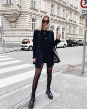 jacket,black blazer,double breasted,oversized,black boots,platform boots,tights,black t-shirt,black bag,prada bag