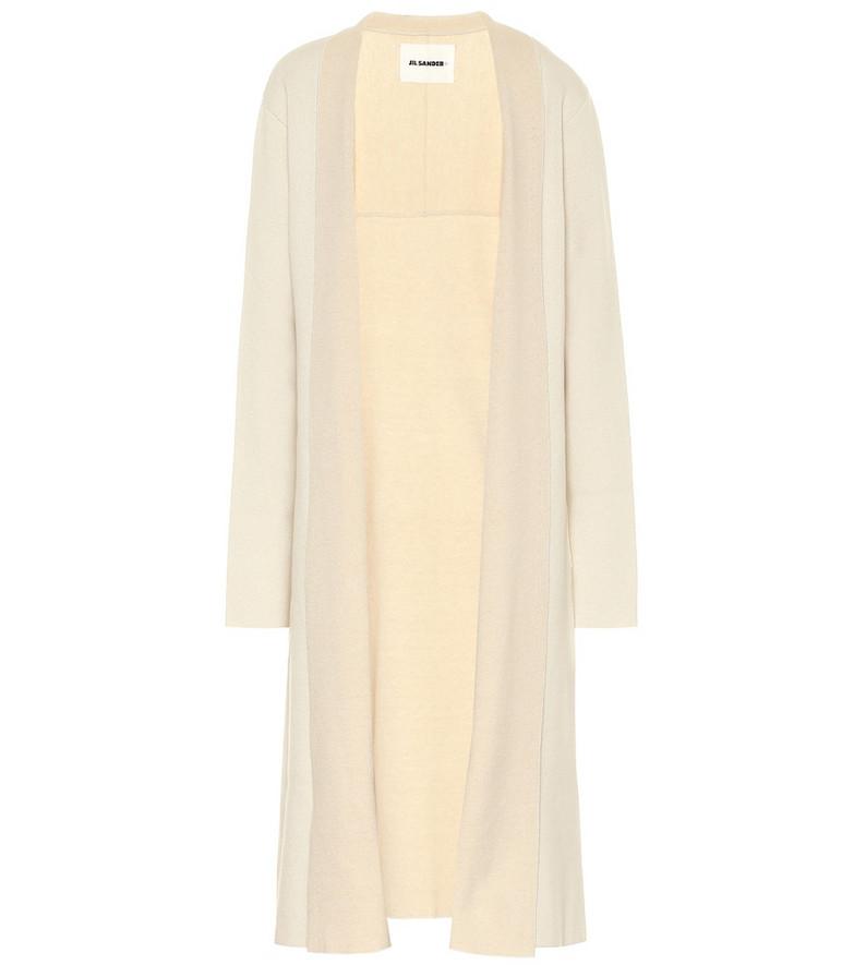 Jil Sander Stretch wool and cashmere longline cardigan in beige
