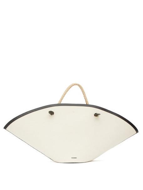 Jil Sander - Sombrero Large Rope-handle Leather Bag - Womens - White Multi