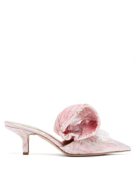 Midnight 00 - Bead Embellished Velvet And Pvc Mules - Womens - Pink