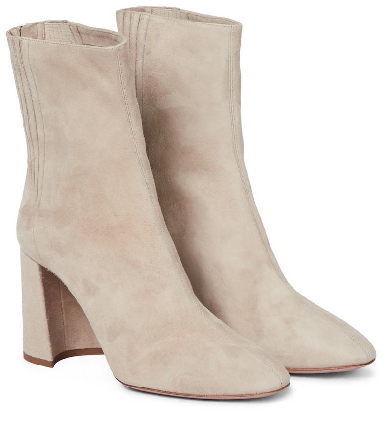Aquazzura Tres St Honoré 85 suede boots in beige