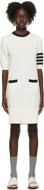 Thom Browne White Intarsia Hector Icon 4-Bar Dress