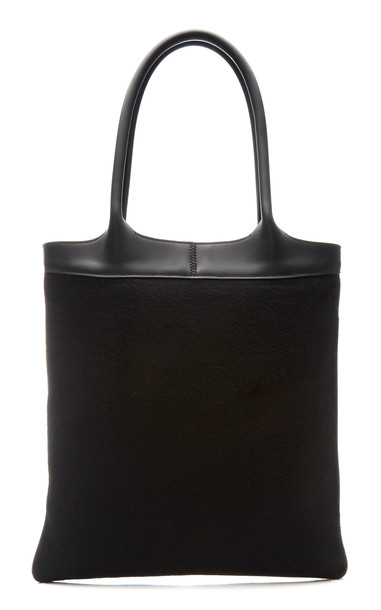Gabriela Hearst Classic Cashmere And Leather Tote in black