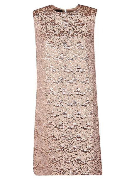 Rochas A-line Jacquard Dress in beige
