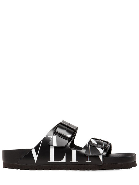 VALENTINO GARAVANI 30mm Birkenstock Vltn Leather Sandals in black / white