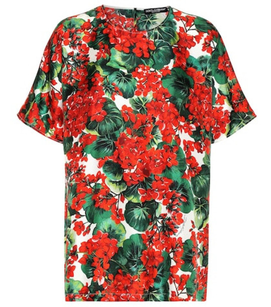 Dolce & Gabbana Floral silk shirt in red