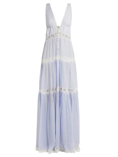 Jonathan Simkhai - Lace Embellished Silk Maxi Dress - Womens - Light Blue