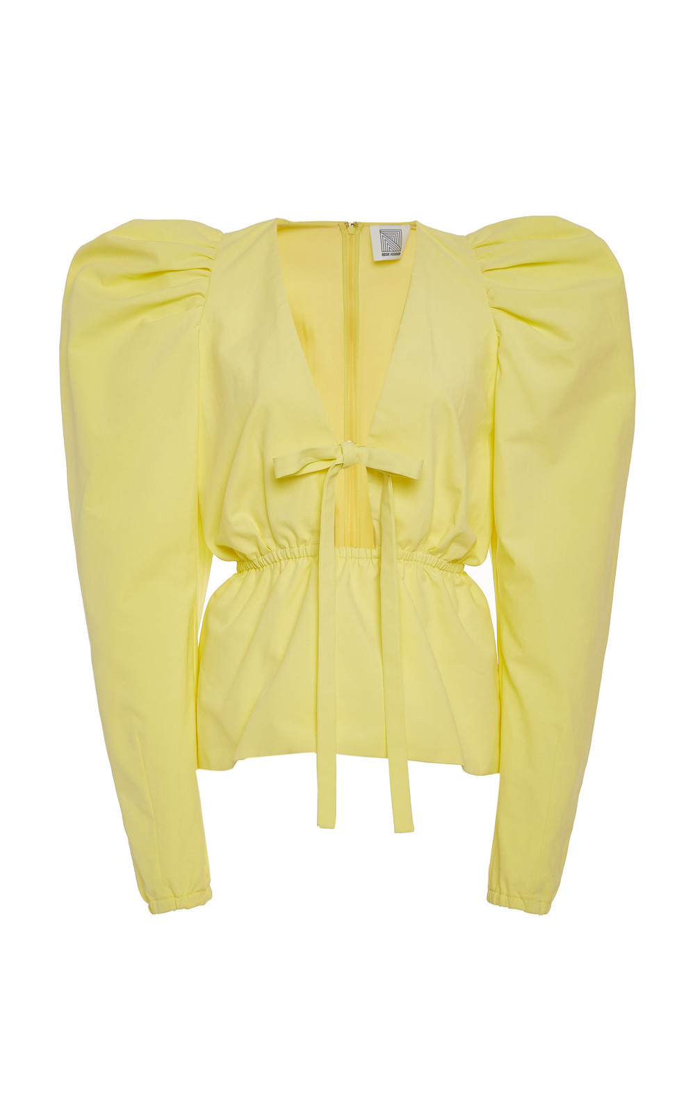 Rosie Assoulin Impressionist Cotton-Poplin Top in yellow