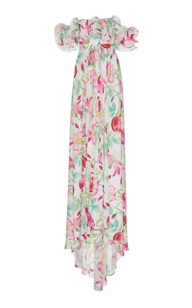 Andrew Gn Off-The-Shoulder Floral Silk Dress in white