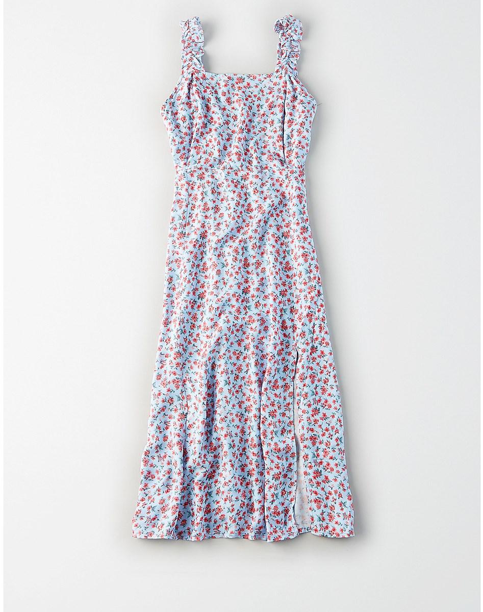 AEO Ruffle Strap Midi Dress