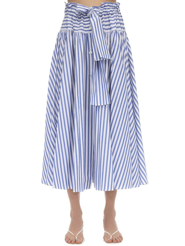 MARYAM NASSIR ZADEH Carlita Cotton Poplin Skirt in blue / white
