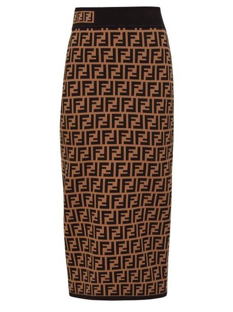 Fendi - Ff Jacquard Knit Pencil Skirt - Womens - Brown Multi