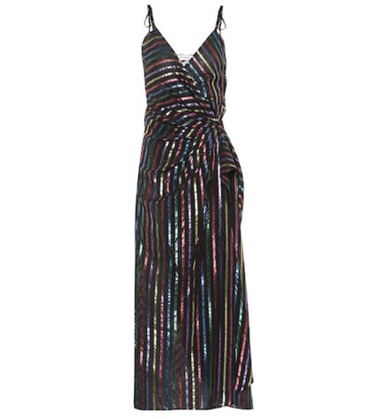 Attico Striped jacquard wrap dress in black