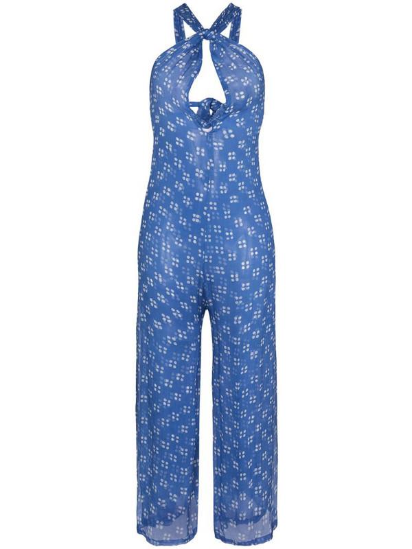 Cloe Cassandro front cut-out detail jumpsuit in blue